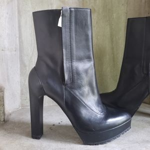 Zara leather double zip platform ankle boots  8